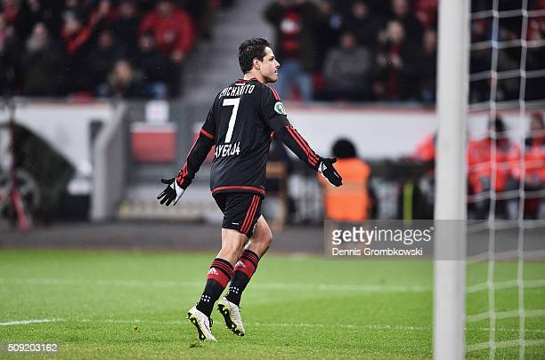 Javier Hernandez of Bayer Leverkusen celebrates as he scores their first goal from the penalty spot during the DFB Cup Quarter Final match between...