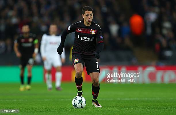 Javier Hernandez of Bayer Leverkusen during the UEFA Champions League match between Tottenham Hotspur FC and Bayer 04 Leverkusen at Wembley Stadium...
