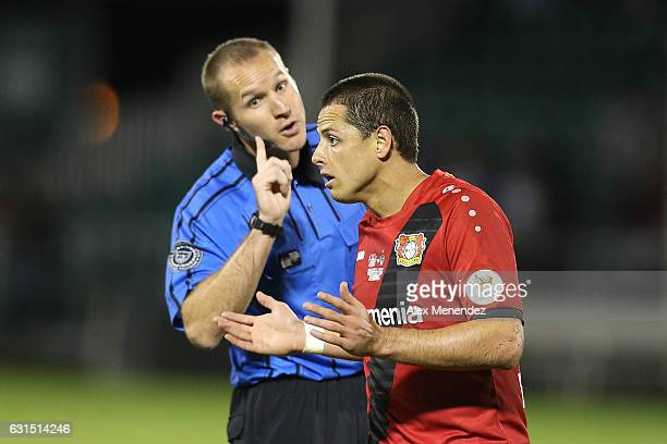 Javier Hernandez of Bayer Leverkusen is warned by the head referee at ESPN Wide World of Sports Complex on January 11 2017 in Kissimmee Florida