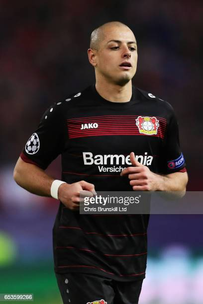 Javier Hernandez of Bayer Leverkusen looks on during the UEFA Champions League Round of 16 second leg match between Club Atletico de Madrid and Bayer...