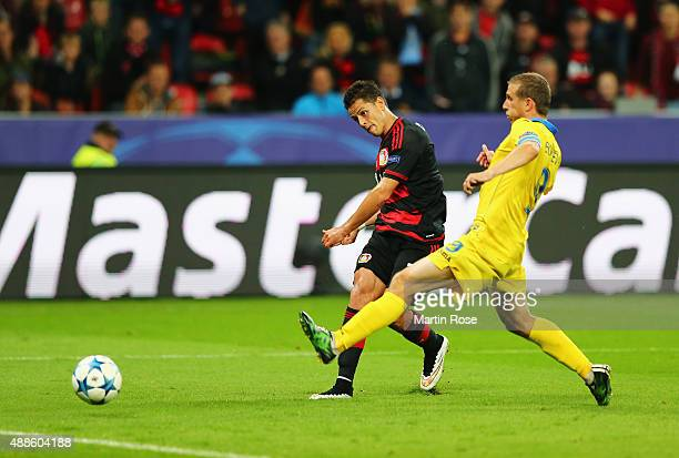 Javier Hernandez of Bayer Leverkusen scores his team's third goal during the UEFA Champions League Group E match between Bayer 04 Leverkusen and FC...