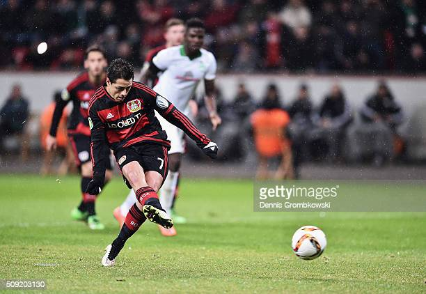 Javier Hernandez of Bayer Leverkusen scores their first goal from the penalty spot during the DFB Cup Quarter Final match between Bayer Leverkusen...
