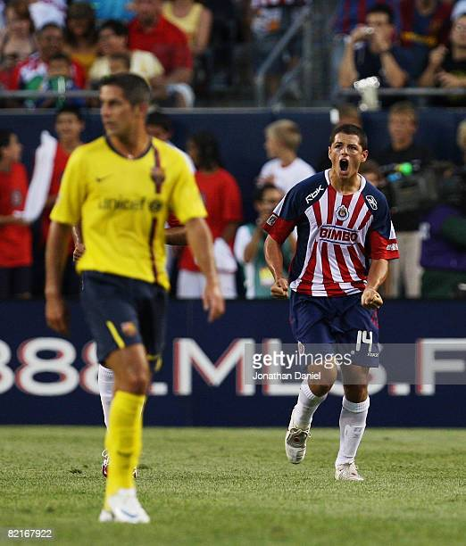 Javier Hernandez of CD Guadalajara celebrates a goal against FC Barcelona during a international friendly match on August 3 2008 at Soldier Field in...