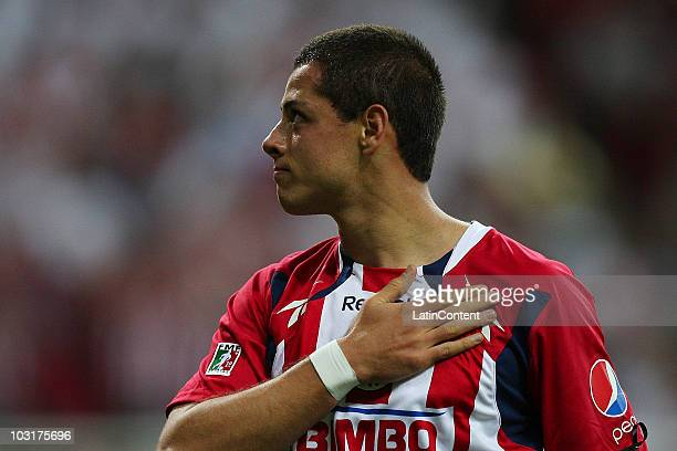 Javier Hernandez of Chivas celebrates a scored goal against Manchester United during a friendly match at Omnilife Stadium on July 30 2010 in...