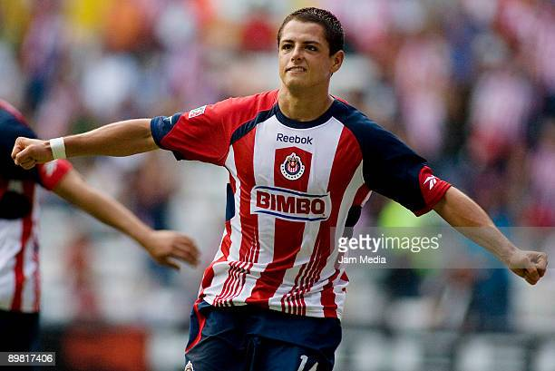 Javier Hernandez of Chivas Guadalajara celebrates after scoring against Queretaro in a Mexican League Apertura 2009 soccer match at the Jalisco...
