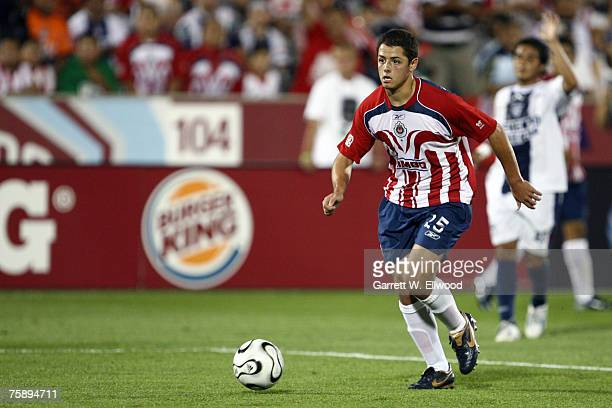Javier Hernandez of Chivas looks to kick the ball against CF Pachuca during the SuperLiga match on July 31 2007 at Dick's Sporting Goods Park in...