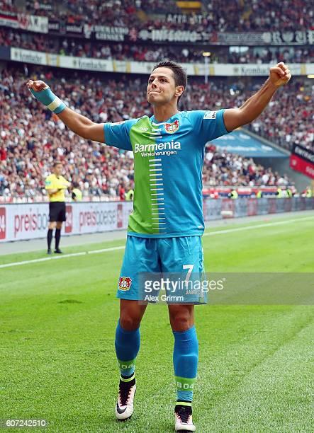 Javier Hernandez of Leverkusen celebrates his team's first goal during the Bundesliga match between Eintracht Frankfurt and Bayer 04 Leverkusen at...