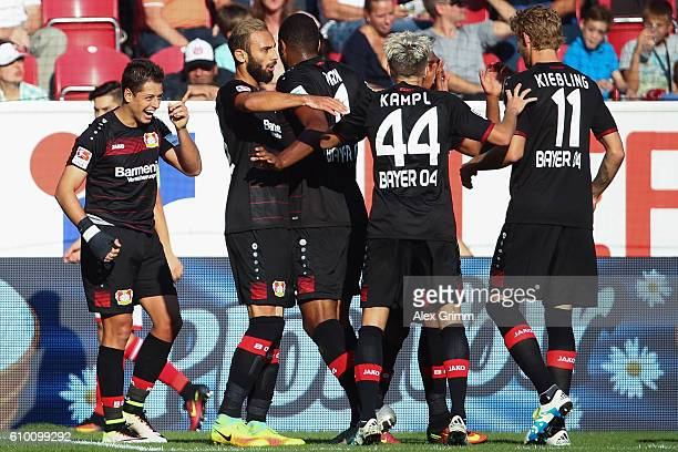 Javier Hernandez of Leverkusen celebrates his team's second goal with team mates during the Bundesliga match between 1 FSV Mainz 05 and Bayer 04...