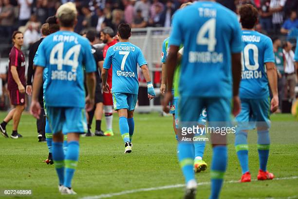 Javier Hernandez of Leverkusen leaves the pitch after the Bundesliga match between Eintracht Frankfurt and Bayer 04 Leverkusen at CommerzbankArena on...