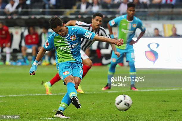 Javier Hernandez of Leverkusen misses a penalty during the Bundesliga match between Eintracht Frankfurt and Bayer 04 Leverkusen at CommerzbankArena...