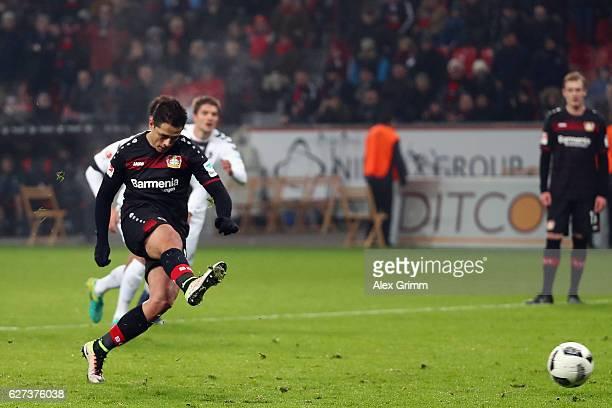 Javier Hernandez of Leverkusen misses a penalty during the Bundesliga match between Bayer 04 Leverkusen and SC Freiburg at BayArena on December 3...