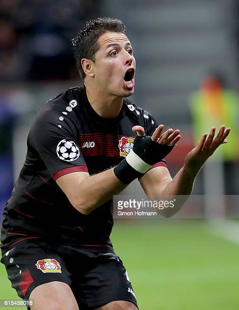 Javier Hernandez of Leverkusen reacts after he fails to score during the UEFA Champions League group E match between Bayer 04 Leverkusen and...