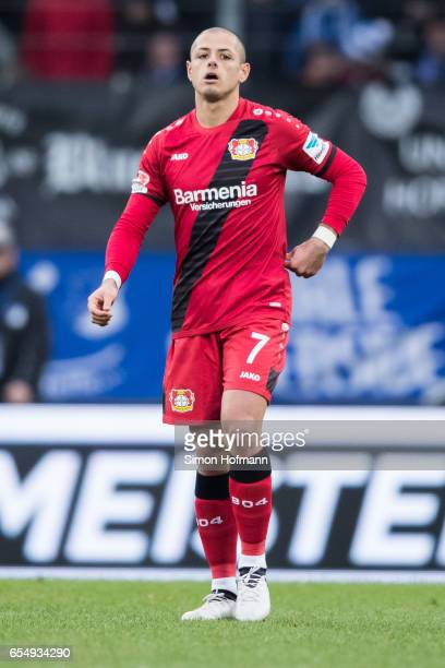 Javier Hernandez of Leverkusen reacts during the Bundesliga match between TSG 1899 Hoffenheim and Bayer 04 Leverkusen at Wirsol RheinNeckarArena on...