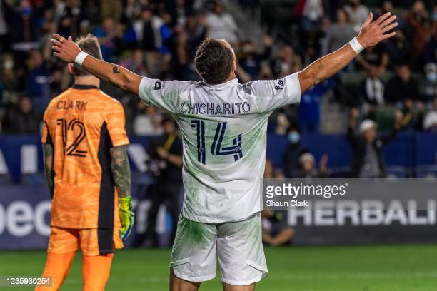 Javier Hernandez of Los Angeles Galaxy celebrates his goal during the game against Portland Timbers at the Dignity Health Sports Park on October 16,...