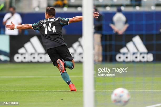 Javier Hernandez of Los Angeles Galaxy celebrates his goal in the first half against the New York Red Bulls at Dignity Health Sports Park on April...