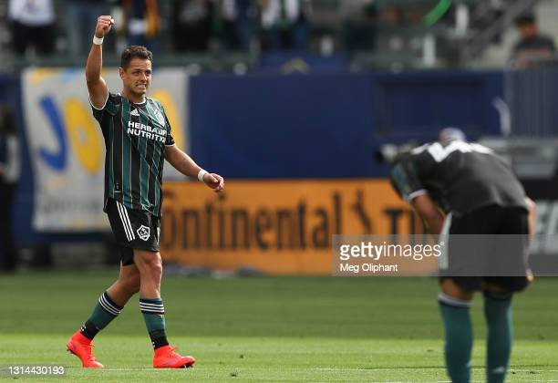 Javier Hernandez of Los Angeles Galaxy celebrates his goal in the second half against the New York Red Bulls at Dignity Health Sports Park on April...
