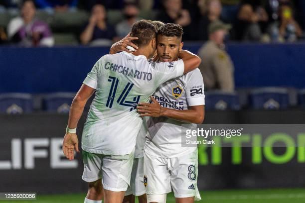 Javier Hernandez of Los Angeles Galaxy celebrates his goal with Jonathan dos Santos during the game against Portland Timbers at the Dignity Health...
