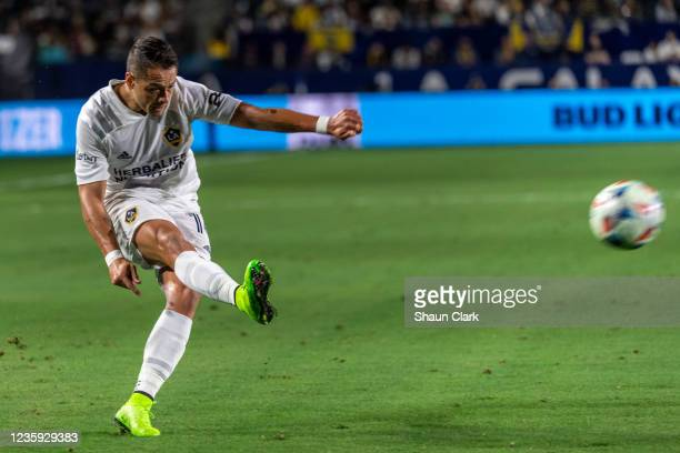 Javier Hernandez of Los Angeles Galaxy during the game against Portland Timbers at the Dignity Health Sports Park on October 16, 2021 in Carson,...