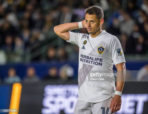 Javier Hernandez of Los Angeles Galaxy during the Los Angeles Galaxy's MLS match against Vancouver Whitecaps at the Dignity Health Sports Park on...