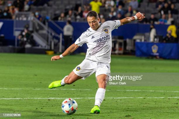 Javier Hernandez of Los Angeles Galaxy kicks the ball during the game against Portland Timbers at the Dignity Health Sports Park on October 16, 2021...