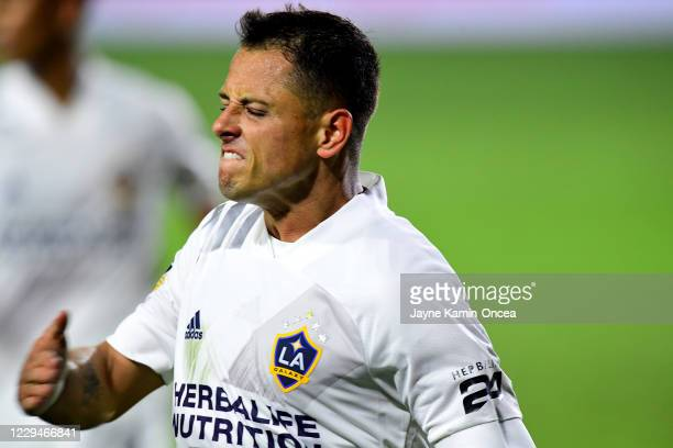Javier Hernandez of Los Angeles Galaxy pumps his chest as he reacts after scoring a goal in the second half of the game against the Seattle Sounders...