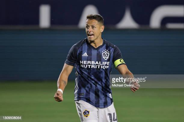 Javier Hernandez of Los Angeles Galaxy reacts after a goal during the first half against the New England Revolution at Dignity Health Sports Park on...