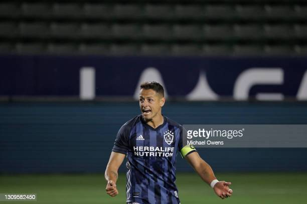 Javier Hernandez of Los Angeles Galaxy reacts after a goal during the first half of a game against the New England Revolution at Dignity Health...