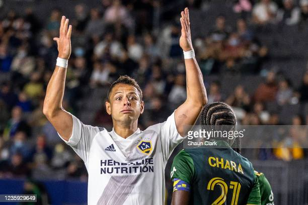 Javier Hernandez of Los Angeles Galaxy reacts during the game against Portland Timbers at the Dignity Health Sports Park on October 16, 2021 in...