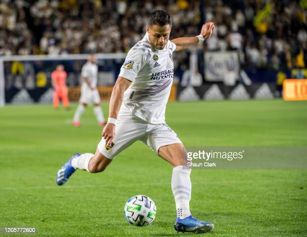 Javier Hernandez of Los Angeles Galaxy takes a shot during the Los Angeles Galaxy's MLS match against Vancouver Whitecaps at the Dignity Health...