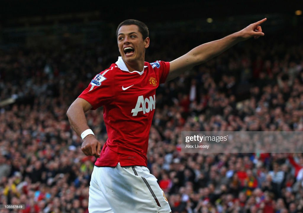 Javier Hernandez of Manchester United celebrates after scoring the first goal during the Barclays Premier League match between Manchester United and West Bromwich Albion at Old Trafford on October 16, 2010 in Manchester, England.