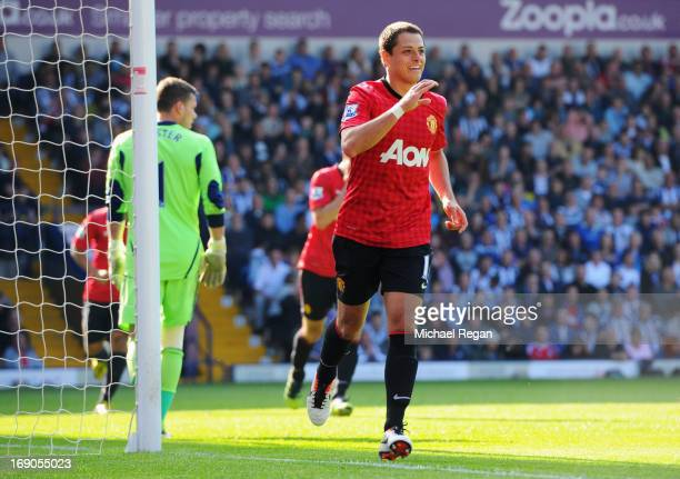 Javier Hernandez of Manchester United celebrates as he scores their fifth goal during the Barclays Premier League match between West Bromwich Albion...
