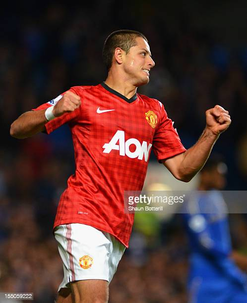 Javier Hernandez of Manchester United celebrates his goal during the Capital One Cup Fourth Round match between Chelsea and Manchester United at...