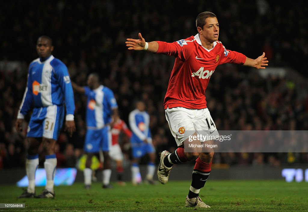 Javier Hernandez of Manchester United celebrates scoring his team's 2-0 goal during the Barclays Premier League match between Manchester United and Wigan Athletic at Old Trafford on November 20, 2010 in Manchester, England.