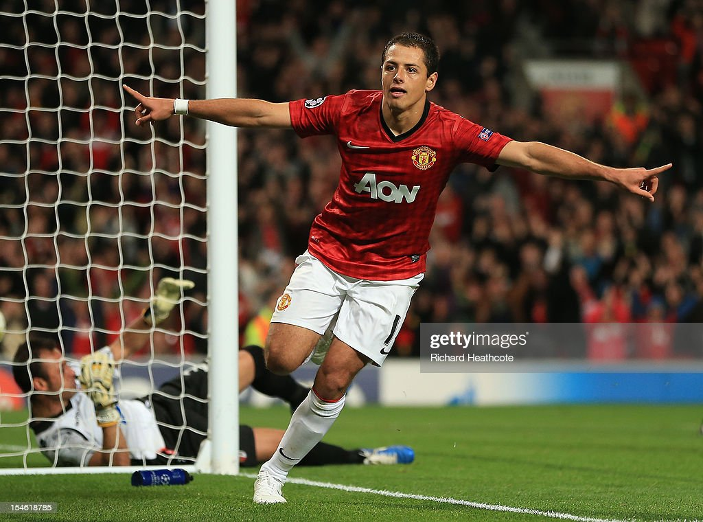 Javier Hernandez of Manchester United celebrates scoring his team's third goal to make the score 3-2 during the UEFA Champions League Group H match between Manchester United and SC Braga at Old Trafford on October 23, 2012 in Manchester, England.