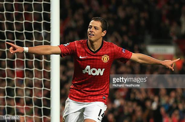 Javier Hernandez of Manchester United celebrates scoring his team's third goal to make the score 32 during the UEFA Champions League Group H match...