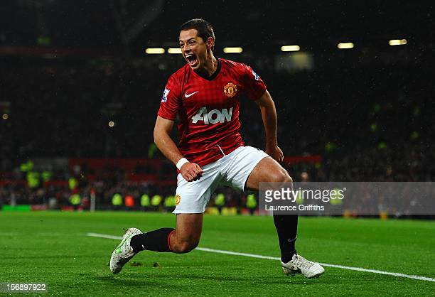 Javier Hernandez of Manchester United celebrates scoring his team's third goal to make the score 31 during the Barclays Premier League match between...