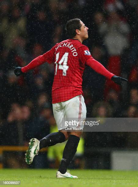 Javier Hernandez of Manchester United celebrates scoring his team's fourth goal during the FA Cup with Budweiser Fourth Round match between...
