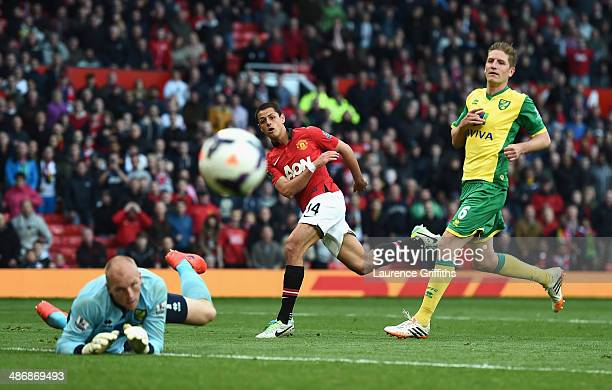 Javier Hernandez of Manchester United fires in a shot at goal during the Barclays Premier League match between Manchester United and Norwich City at...