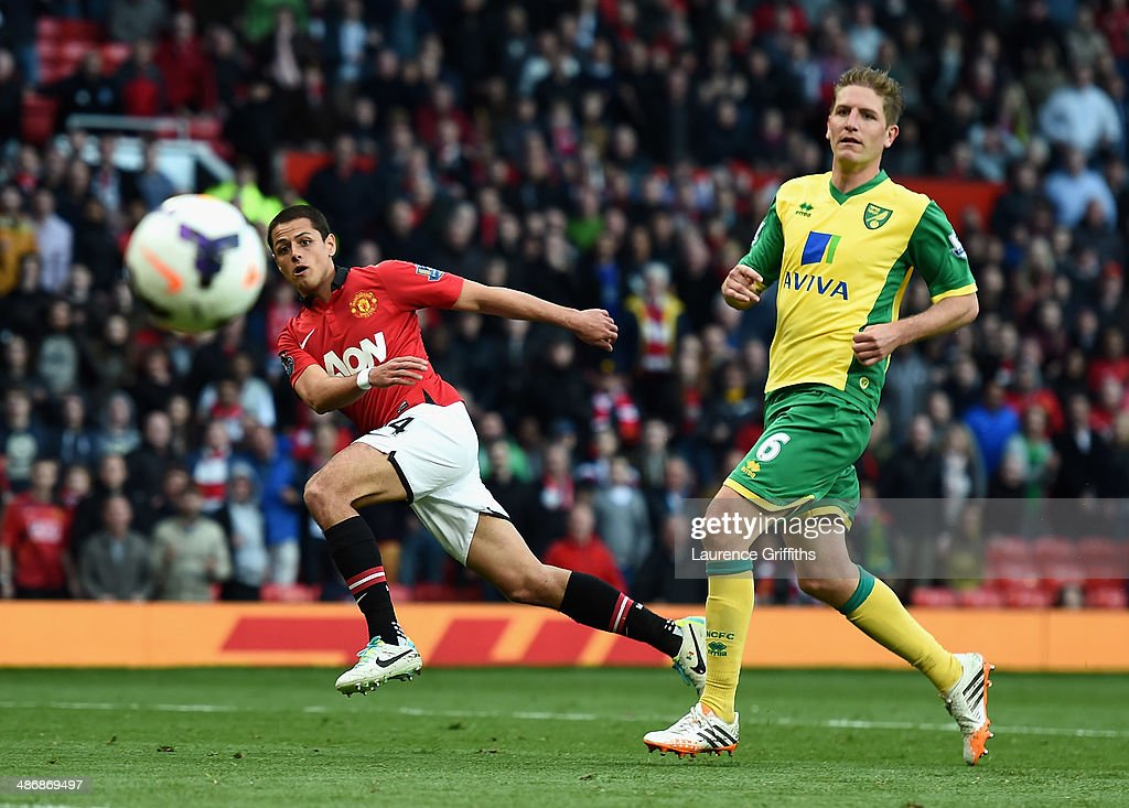 Javier Hernandez of Manchester United fires in a shot at goal during the Barclays Premier League match between Manchester United and Norwich City at Old Trafford on April 26, 2014 in Manchester, England.