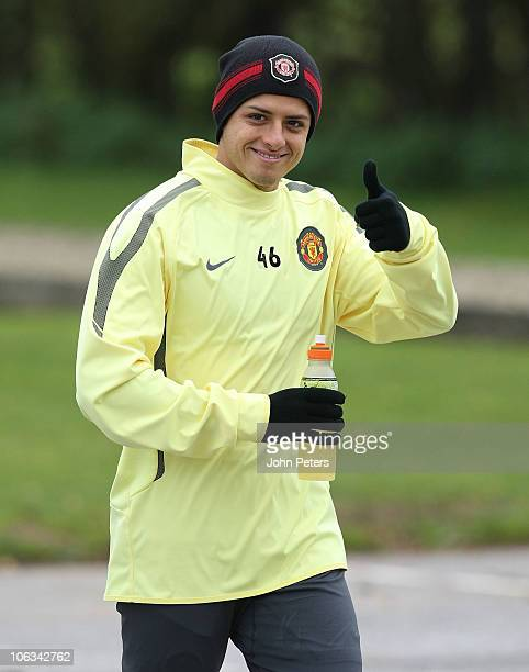 Javier Hernandez of Manchester United in action during a first team training session at Carrington Training Ground on October 29, 2010 in Manchester,...