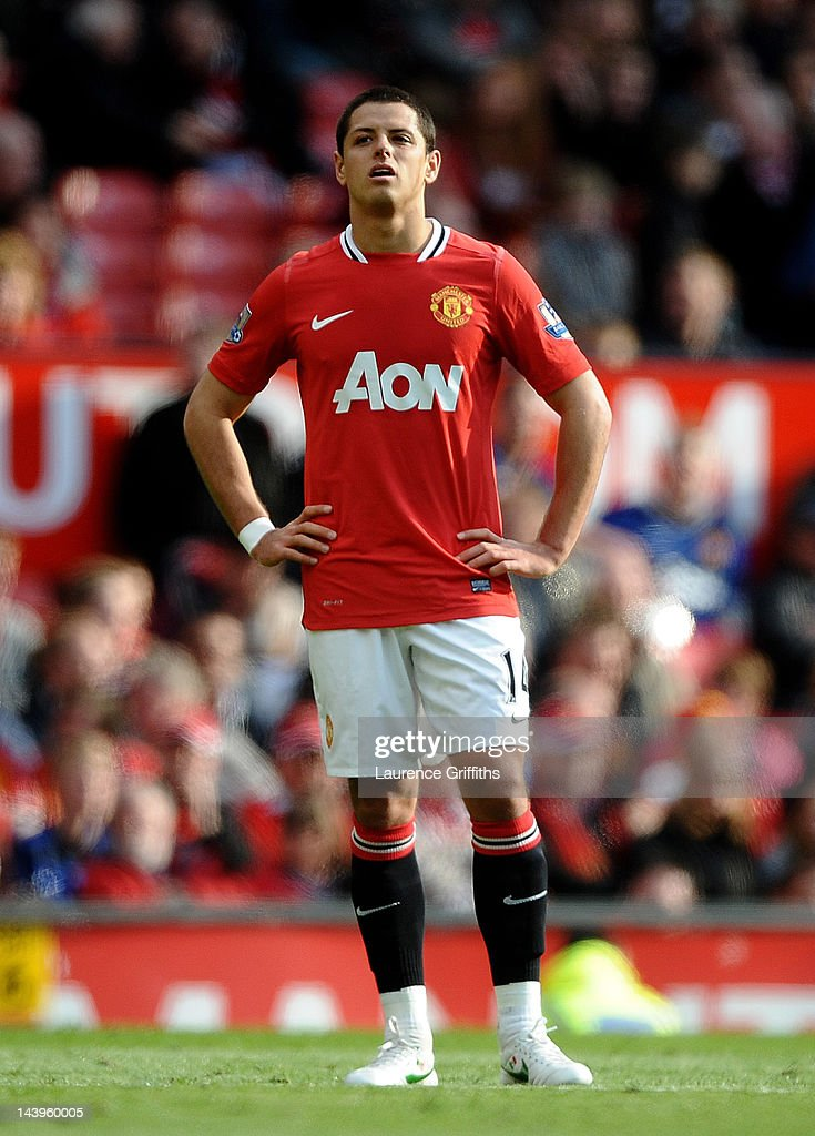 Javier Hernandez of Manchester United looks on during the Barclays Premier League match between Manchester United and Swansea City at Old Trafford on 6 May 2012 in Manchester, England.