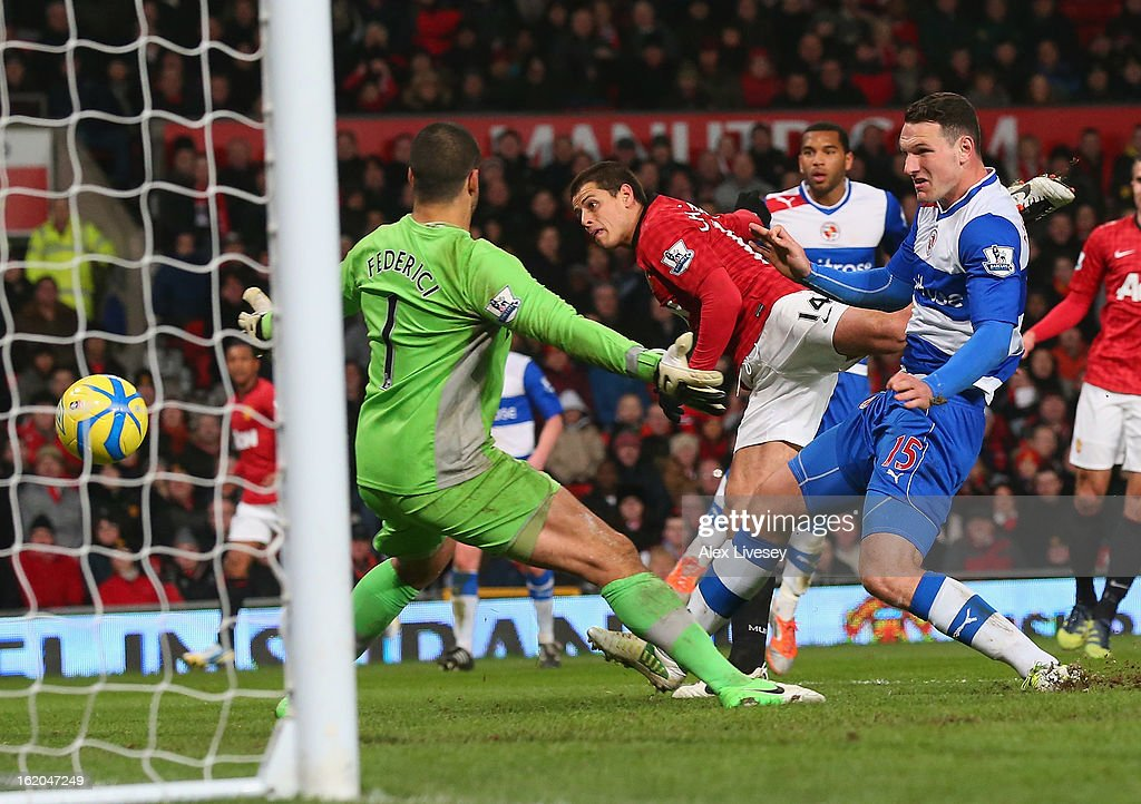 Javier Hernandez of Manchester United scores the second goal during the FA Cup Fifth Round match between Manchester United and Reading at Old Trafford on February 18, 2013 in Manchester, England.