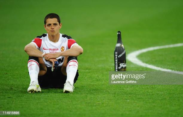 Javier Hernandez of Manchester United shows his dejection after the UEFA Champions League final between FC Barcelona and Manchester United FC at...
