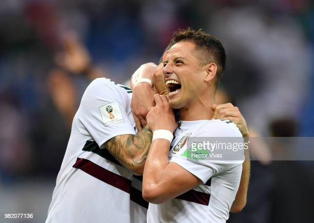 Javier Hernandez of Mexico and Miguel Layun of Mexico celebrate following their sides victory in the 2018 FIFA World Cup Russia group F match between...