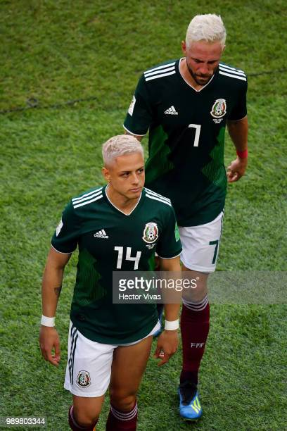 Javier Hernandez of Mexico and Miguel Layun of Mexico look dejected following their sides defeat in the 2018 FIFA World Cup Russia Round of 16 match...