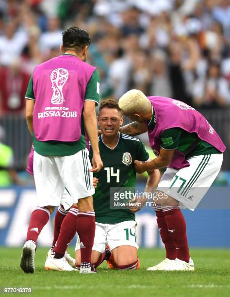 Javier Hernandez of Mexico celebrates after his sides victory in the 2018 FIFA World Cup Russia group F match between Germany and Mexico at Luzhniki...