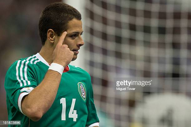 Javier Hernandez of Mexico celebrates after scoring a goal during a match between Mexico and Costa Rica as part of the CONCACAF Qualifiers for the...
