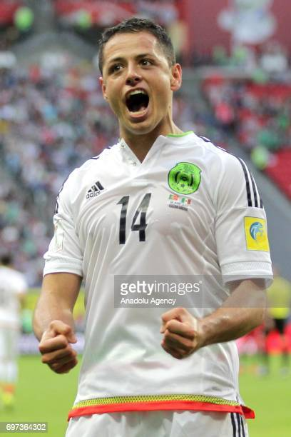 Javier Hernandez of Mexico celebrates after scoring a goal during the FIFA Confederations Cup 2017 group A soccer match between Portugal and Mexico...