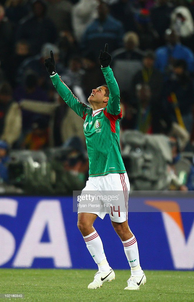 Javier Hernandez of Mexico celebrates after scoring his teams first goal during the 2010 FIFA World Cup South Africa Group A match between France and Mexico at the Peter Mokaba Stadium on June 17, 2010 in Polokwane, South Africa.