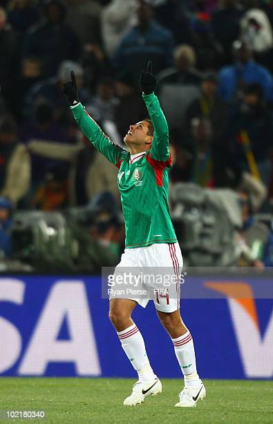 Javier Hernandez of Mexico celebrates after scoring his teams first goal during the 2010 FIFA World Cup South Africa Group A match between France and...